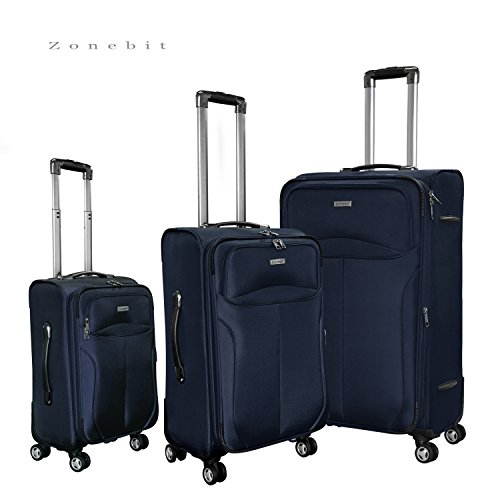 Upright Roller Luggage (Zonebit 3 Piece Luggage Suitcase Set with Four 360 Roller Wheels, Navy)