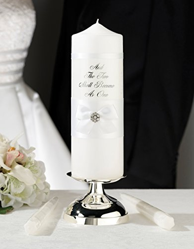Lillian Rose White Lace Wedding Unity Candle Set Two Become One (Unity Two Become One Candle)