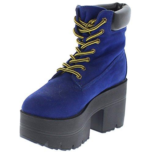 Cobalt Republic Lace Platform up Work Adam Shoe Ankle Chunky Boots zq1Bxq4wH