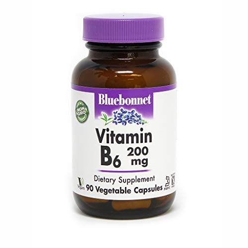Bluebonnet Vitamin B-6 200 mg Vegetable Capsules, 90 Count