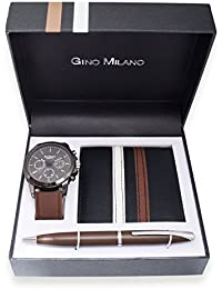 Gino Milano Men's Brown Silicone Band and Black dial watch with Wallet and Pen Gift set (Brown)