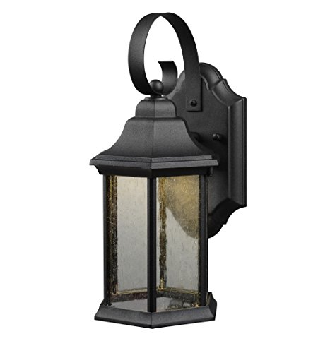 Hardware House LLC 21-1932 1-Light Led Lantern Black with Frosted Glass Lantern Wall Fixture with 1-Light Comes with Seedy Style Glass Uses (1) 10W Led Bulb - Included (Globe Glass Lanterns)