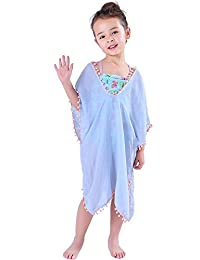 MissShorthair Fashion Girls' Cover-up Swimsuit Wraps Beach Dress Top with PomPom