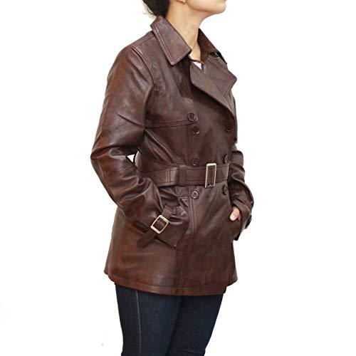 Tyylikäs Kaulus Leather A Foncé Z Valmistettu Trenssi Naisten Hihnan Elegantti Kiinnitin Tyyliin Marron Nahasta Ja To 4xwpwfqa