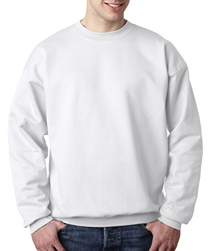Cotton Sweatshirt Oz 10 Crewneck - Hanes 90/10 Cotton/Polyester 10.2oz. Ultimate Cotton - Crewneck, 2XL-White