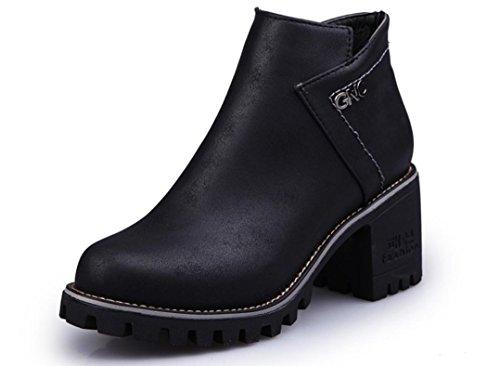 Scarpe YCMDM Donne The New artificiale PU Boots testa rotonda Martin Stivali Tempo libero singoli , black , 36