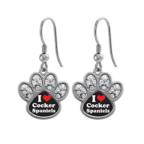 - Inspired Silver - I Love Cocker Spaniels Charm Earrings for Women - Silver Pave Paw Charm French Hook Drop Earrings with Cubic Zirconia Jewelry