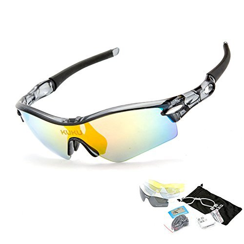 Evebright Outdoor Sports Black Prescription Polarized Sunglasses with 4 Interchangeable - Prescription Cycling Sunglasses Sports