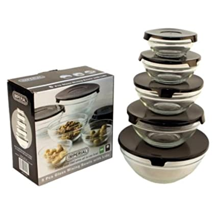 Imperial 5 Pcs Glass Nested Dipping or Storage Bowls with Black Lids