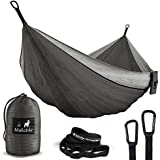 MalloMe Double & Single Portable Camping Hammock - Parachute Lightweight Nylon with Hammok Tree Straps Set- 2 Person Equipment Kids Accessories Max 1000 lbs Breaking Capacity - Free 2 Carabiners