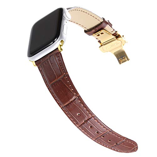 CHIMAERA Compatible for 38MM 40MM 42MM 44MM Apple Watch Band Alligator Grain Genuine Calf Leather Strap Replacement for iWatch Series 1/2/3/4 Black/Gold/Rose Gold Adapters ()