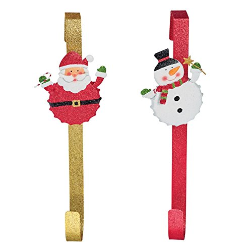 Over The Door Holiday Character Wreath Hangers - Set Of 2
