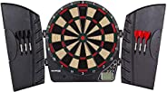 Bullshooter Reactor Electronic Dartboard and Cabinet with LCD Display, Cricket Scoring Displays, 8-Player Scor