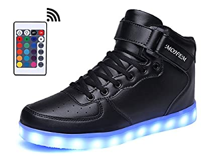 MOHEM ShinyNight High Top LED Shoes Light Up USB Charging Flashing Sneakers(1687003Black35)