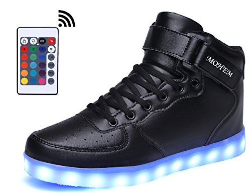 MOHEM Charging LED Light Top Black Sneakers USB Up Flashing ShinyNight Shoes High nW4q4rw