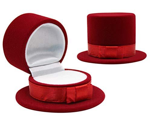 (mossty Hat Shaped Ring Box, Velvet Earring Box Jewelry Display Storage Case Gift Box Proposal Engagement Wedding)