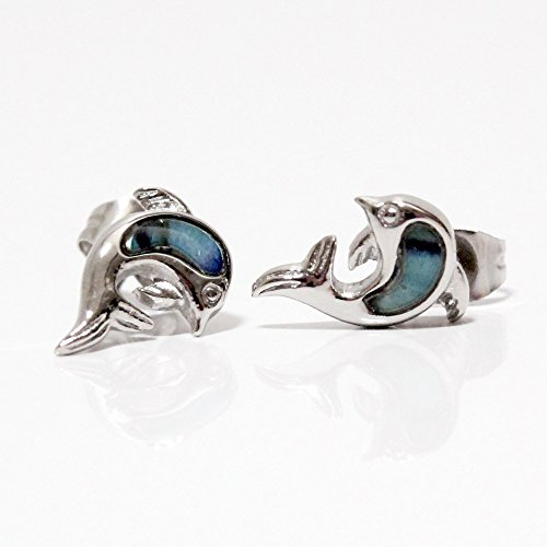 - Magnetic Therapy Earrings Dolphin with abalony