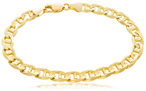 - Solid Gold Mariner Link Chain Bracelet 14K Yellow Gold 7mm Wide by 8