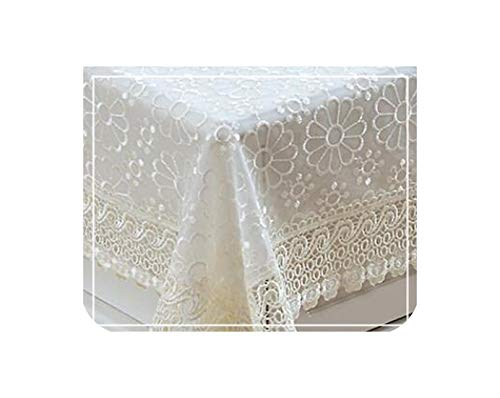 Proud Rose Pastoral Lace Tablecloths Transparent Table Cloth Rectangular Embroidered Round Table Cloth Wedding Decoration,Beige,100x100cm -