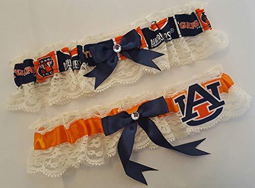 Handcrafted Orange & Navy Satin and Ivory Lace Wedding Garter Made Using University of Auburn Fabric