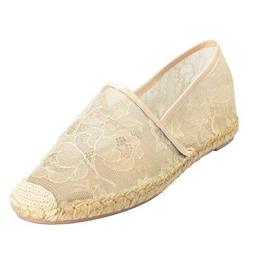Valentino Garavani Kvinners Vintage Hvite Blonder Espadrilles Loafers Flate Sko Hvit