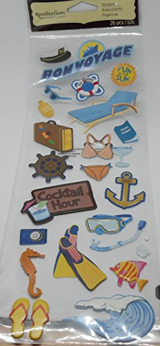 Recollections Themed Stickers - 3D/Puffy Stickers - 26 Pieces - Bon Voyage - Travel, Fun In the Sun, Cruise, Vacation, Fish, Scuba and - Bon Anchor Voyage