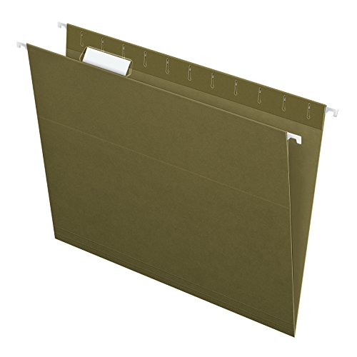 Pendaflex Hanging File Folders, Letter Size, Standard Green, 1/5-Cut Adjustable Tabs, 25 Per Box (81602) (14x13 Hanging File Folders)