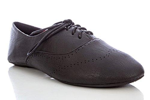 Wingtip Shoe Oxford Flat up Lace Women's Ballet Delias Black wqP4tfI