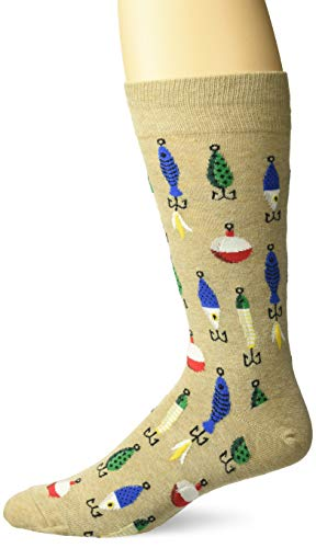 (Hot Sox Men's Sealife Series Novelty Casual Crew Socks, Fishing Lures (hemp), Shoe Size: 6-12)