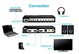 J-Tech Digital ® HDMI 1.4 Switch Switcher Box Selector 3 In 1 Out HDMI Audio Extractor Splitter with Optical SPDIF & RCA L/R Audio Out & Remote Control Supports ARC, MHL, Ultra HD, Full 3D, 4kx2k, 1080P (Support Apple TV 4Gen)