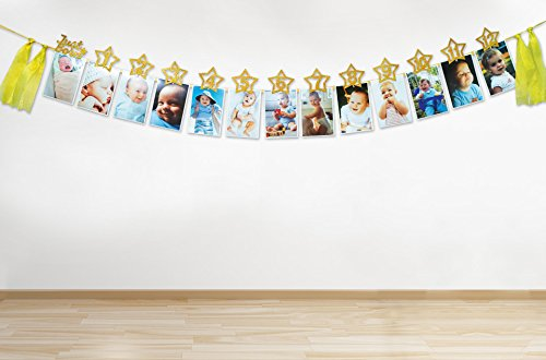 Great 1 Ye Other Baby Keepsakes Monthly Milestone Photo Banner Gold Glitter For Newborn To 12 Months Baby
