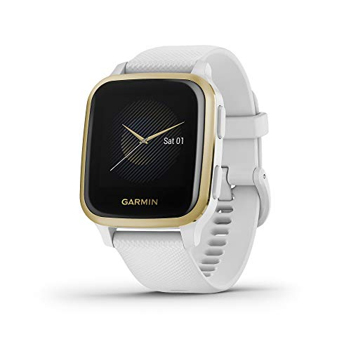 Garmin Venu Sq, GPS Smartwatch with Bright Touchscreen Display, Up to 6 Days of Battery Life, Light Gold and White (010-02427-01)