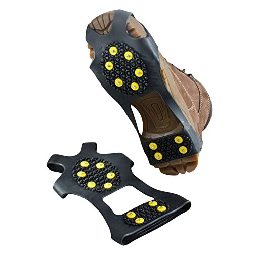 10-Stud Non-slip Shoe Covers with Welded Steel Chain for Walking Jogging or Hiking on Snow and Ice Footwear Nonslip Spikes Slip-on Stretch Crampons L