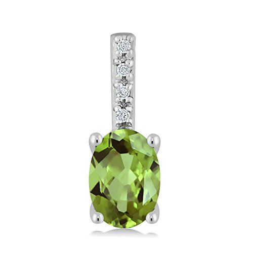 (Gem Stone King 14K White Gold Round Diamond and 7X5MM Oval Green Peridot Pendant Necklace (0.82 cttw, With 18 Inch)