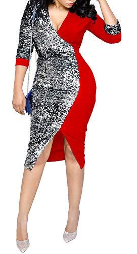 Aleng Women Elegant Deep V-Neck Sparkling Split Patchwork Bodycon Back Tie Up Cocktail Party Wrap Dress ()