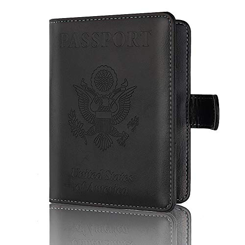 Passport Holder Leather Travel Wallet - RFID Blocking Passport Cover with Magnetic Closure for US Passport By Talent (Black)