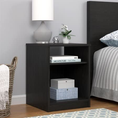 Night Stand with Simple Design in a Classic Look, Set of 2, Black