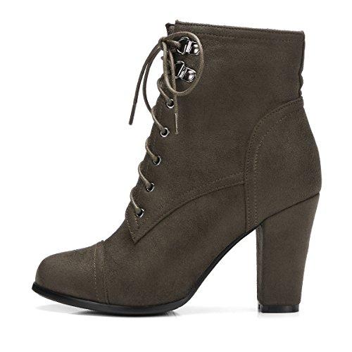 High Warm Mit Ye Heels Grün Damen Blockabsatz Und Schnürung Boots Elegant Schuhe Stiefeletten Ankle Reißverschluss