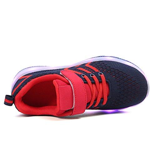 USB con 2018 Colore Scarpe Bambina bambini Unisex LED Shoes Scarpe Bambino Sneakers Rosso Suola 7 Bright Scarpe Luci Luci Design Tennis DoGeek Carica di nella qngcZYWg