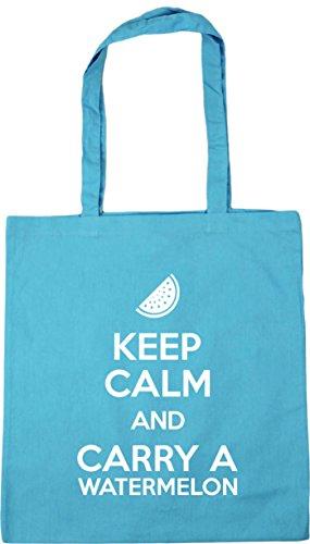 42cm 10 Bag Calm and HippoWarehouse Gym Carry Keep Shopping Watermelon Beach Surf a x38cm litres Tote Blue 4OfqPwOx