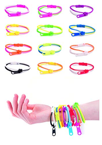 UpBrands 48 Pack Friendship Fidget Zipper Bracelets Sensory