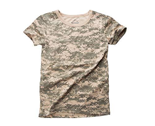 BACKBONE Womens Ladies Army Military Gym Training Outdoor Hunt Camp Camouflage Short Sleeve Tee T-Shirt (ACU Digital Camo,Size L)