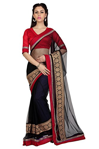 Bollywood-Womens-Indian-Ethnic-Designer-Black-color-Net-Party-Wedding-Sarees-With-Saree-Blouse-Unstitched