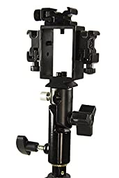 StudioPRO Triple Hot Shoe Bracket with Umbrella Socket for Flash/Speedlite - Compatible with Standard Hot Shoe Canon Nikon Pentax Olympus Flash Units