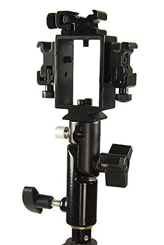 StudioPRO Triple Hot Shoe Bracket with Umbrella Socket for Flash/Speedlite - Compatible with Standard Hot Shoe Canon Nikon Pentax Olympus Flash Units