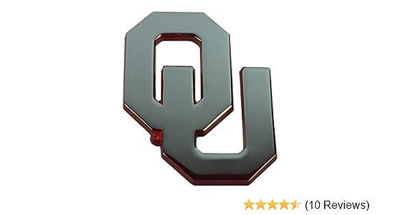 OU Oklahoma METAL Auto Emblem with Crimson Trim AMG