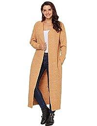 DAFREW Suéter para Mujer, Chaqueta de Punto Larga, Larga, cálida y cómoda Chaqueta de suéter (Color : Amarillo, Tamaño : XL)