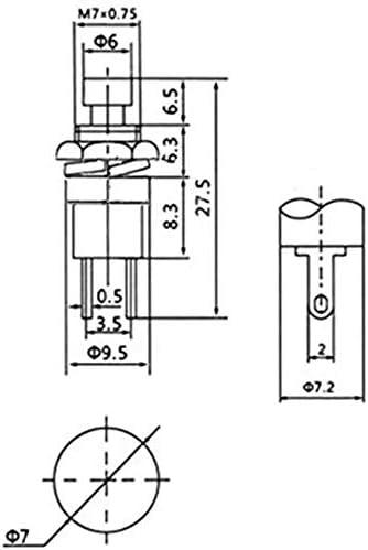 DONJON Momentanen Druck schalter, Mini Dr/ücken Taster Druckkn/öpfe SPST ON//OFF f/ür Auto,PC,Tischlampe mit 20AWG Draht 10Pcs