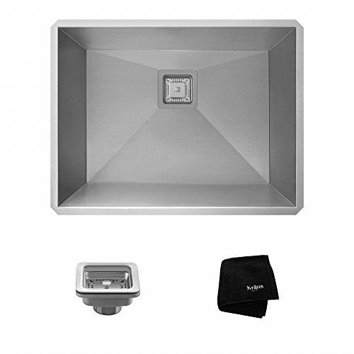 Kraus KHU24L Pax Zero-Radius 24 18 Gauge Handmade Undermount Single Bowl Stainless Steel Laundry and Utility Sink