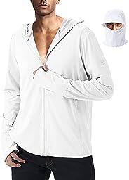Ksmxos Men's Quick Dry Hooded Jacket UPF 50+ Lightweight Cooling Shirt with Zipper Poc